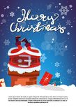 Merry Christmas Poster With Santa Claus Stack In Chimney Holiday Banner With Copy Space Stock Photos
