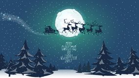 Merry Christmas Poster. Santa and deers. Full moon Royalty Free Stock Images