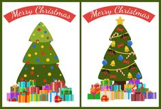 Merry Christmas Poster Set Decor Tree and Presents. Merry Christmas posters set with decorated trees topped by golden star and piles of presents, xmas symbols Royalty Free Stock Image