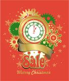 Merry Christmas Poster. Vector illustration of a festive poster with a happy christmas and new year dial of a vintage clock concept time royalty free illustration