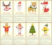 Merry Christmas Posters Vector Illustration. Merry Christmas posters with happy animals and festive decor on white. Vector illustration with deer bear, birds and Royalty Free Stock Photography