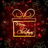 Merry Christmas in present box Royalty Free Stock Photography