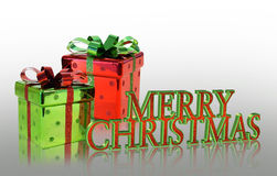 Merry Christmas Presents Background with text stock image