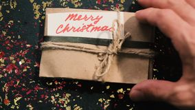 Merry Christmas. Presents and congratulation stock footage