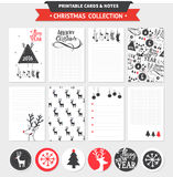 Merry Christmas printable set. Hipster New Year and Merry Christmas set. Vector printable cards, notes and stickers with dear, santa, tree, snowflake, etc Royalty Free Stock Images
