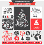 Merry Christmas printable set. Hipster New Year and Merry Christmas set. Vector printable cards, stickers and banners with dear, santa, tree, snowflake, etc Stock Photo