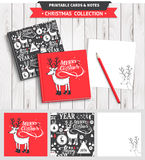 Merry Christmas printable set. Hipster New Year and Merry Christmas set. Vector printable notepad design of cover and papers with dear, santa, tree, snowflake Royalty Free Stock Photography
