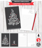 Merry Christmas printable set. Hipster New Year and Merry Christmas set. Vector printable notepad design of cover and papers with lettering, dear, tree Stock Photo