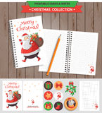 Merry Christmas printable set. Merry Christmas illustration. Vector printable notepad design of cover and papers with Santa Claus and gifts Royalty Free Stock Photos
