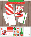 Merry Christmas printable set. Merry Christmas illustration. Vector printable notepad design of cover and papers with Santa Claus and gifts Stock Images