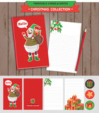 Merry Christmas printable set. Merry Christmas illustration. Vector printable notepad design of cover and papers with snowman and gifts Stock Photography