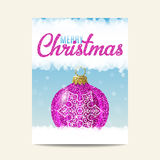 Merry Christmas purple christmas ball with silver snowflake. Purple christmas ball with silver snowflake on blue background. Merry Christmas. Glitter sequins Royalty Free Stock Photography