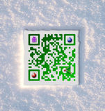 Merry Christmas QR Code set in snow. A Seasonal QR Code which when scanned reads 'A Very Merry Christmas Stock Photos
