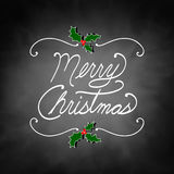 Merry Christmas quote in white handwriting with holly berries and leaves design Stock Photography