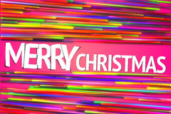 Merry Christmas Rainbow straight Line Glow Pink Background Royalty Free Stock Image