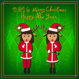 Merry Christmas Raindeer Santa Green Background. Vector Illustration Stock Images