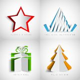 Merry Christmas, Realistic origami set, christmas tree, present Royalty Free Stock Images