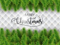 Merry christmas realistic tree branches on white texture background. Vector. Merry christmas realistic tree branches on white texture background Royalty Free Stock Images