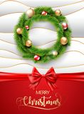 Merry Christmas realistic wreath with christmas gold and red balls toy and red ribbon on white and gold texture background. Vector. EPS 10 Royalty Free Stock Photos