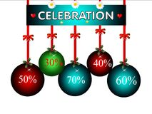 Merry christmas with rebate, illustration Stock Photos