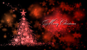 Merry Christmas. Red background with a christmas tree and Merry Christmas Text Royalty Free Stock Photo