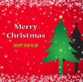 Merry Christmas. Red background,  illustration Stock Photography