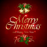 Merry Christmas on red background Royalty Free Stock Image