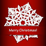 Merry Christmas red background with paper snowflak Royalty Free Stock Image