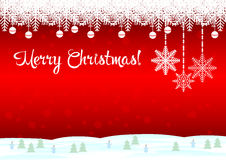 Merry Christmas ! Red background. Merry Christmas Tree! The red background is a beautiful snowflake Royalty Free Stock Photo