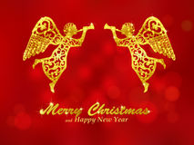 Free Merry Christmas Red Background With Angels Stock Photography - 45734432