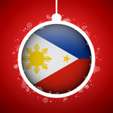Merry Christmas Red Ball with Flag Philippines Stock Image