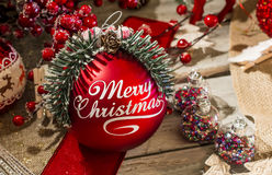 Merry Christmas red bauble Stock Photos