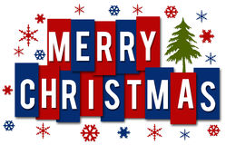 Merry Christmas Red Blue Stripes Royalty Free Stock Photo