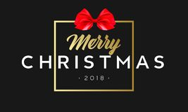 Merry Christmas with red bow in frame. Luxury black and golden color background. Premium vector illustration with. Typographic text for winter holidays card Stock Photos