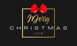 Merry Christmas with red bow in frame. Luxury black and golden color background. Premium vector illustration with. Typographic text for winter holidays card Royalty Free Stock Photos