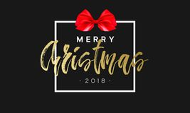 Merry Christmas with red bow in frame. Luxury black and golden color background. Premium vector illustration with. Typographic text for winter holidays card Royalty Free Stock Photo