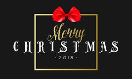 Merry Christmas with red bow in frame. Luxury black and golden color background. Premium vector illustration with. Typographic text for winter holidays card Royalty Free Stock Images