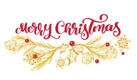 Merry Christmas red Calligraphy Lettering text and vintage gold fir tree branches. Vector illustration.  Stock Images