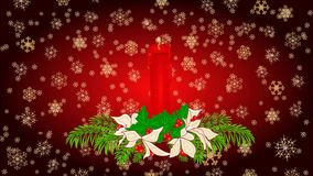 Merry Christmas red candle holly and poinsettia video stock video