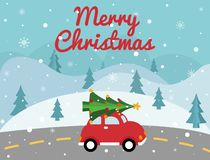 Merry Christmas red car with xmas tree on the top. Christmas card with winter landscape, road, retro pickup, xmas tree. Bright hol royalty free illustration
