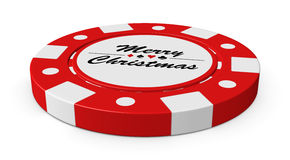 Merry Christmas red casino chip Royalty Free Stock Image