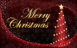 Merry Christmas and a red Christmas tree Royalty Free Stock Photo