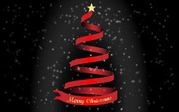 Merry Christmas and a red Christmas tree Royalty Free Stock Images