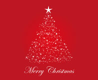 Merry Christmas. Red color christmas tree design on white background with merry christmas greetings Stock Image