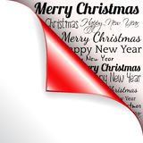 Merry Christmas with red curled corner. Merry Christmas and Happy New Year with red curled corner Stock Photo