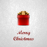 Merry Christmas - Red Gift Box Design for Christmas Stock Photo