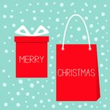 Merry Christmas. Red gift box with ribbon bow, paper shopping bag sale. Giftbox present set. Cute cartoon objects. Blue snow flake. Background. Flat design Royalty Free Stock Images