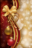 Merry Christmas red golden banner Stock Photo