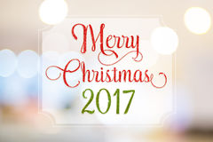 Merry christmas 2017 red and green glitter word on white frame a Royalty Free Stock Photos