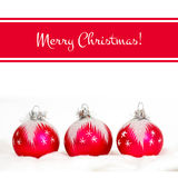 Merry Christmas! Red greetings card. With balls Stock Image